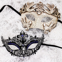 White Silver Cracked Full Face Roman and Black Blue Princess Mask for Couple