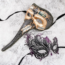 Gold Black Musical Venetian Long Nose and Black Purple Swan Mask for Couple