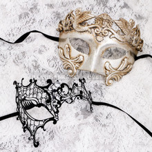 Silver Metallic Full Face Roman and Black Silver Phantom Mask for Couple