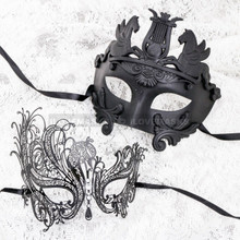 Black Full Face Venetian Pegasus Horse and Black Silver Swan Mask for Couple