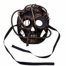 Skull Steampunk Gears Masquerade Mask- Black Gold