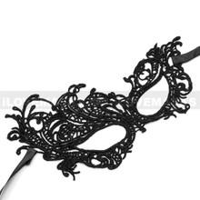 Brocade Lace Masquerade Eye Mask - Black