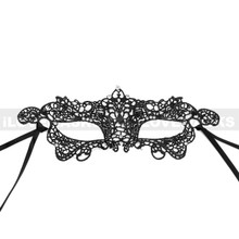 Brocade Lace Masquerade Eye Mask with Rhinestones and Bling - Black