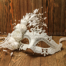 Elegant Venetian Laser Cut Metal Lace Flower Silver Rhinestone Wedding Mask - White
