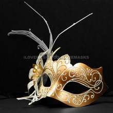 New Shiny Side Flower Venetian Masquerade Party Mask - Gold White