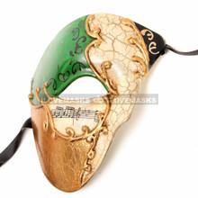 Half Face Musical Phantom of Opera Men Mask - Green Gold