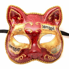 Gatto Cat Venetian Masquerade Mask - Red Gold - 2