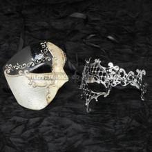Black Phantom of Opera Musical and Silver Venetian Masquerade Diamond Mask Combo