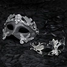 Silver Roman Emperor Masquerade & Black Charming Princess Diamond Mask Combo