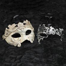 Silver Roman Warrior Metallic Mask & Silver Venetian Phantom Diamond Mask Combo