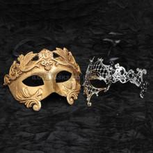 Gold Roman Emperor Metallic Mask & Silver Venetian Phantom Diamond Mask Combo
