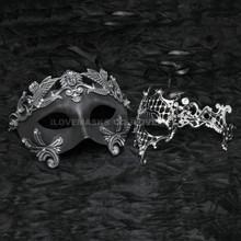 Silver Roman Emperor Masquerade & Silver Venetian Phantom Diamond Mask Combo