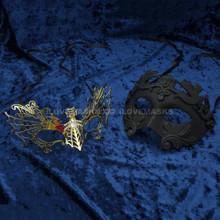 Black Roman Warrior Metallic Mask & Gold Firefox Charming Princess Venetian Masquerade Mask with Sparkling Diamonds - Couple - 2