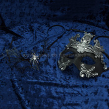 Silver Roman Greek Emperor with Pegasus Horses Venetian Mask & Black Firefox Charming Princess Venetian Masquerade Mask Diamonds - Couple - 2
