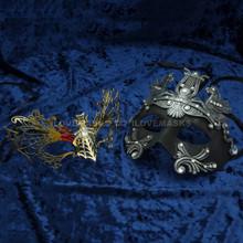 Silver Roman Greek Emperor with Pegasus Horses Venetian Mask & Gold Firefox Charming Princess Venetian Masquerade Mask Diamonds - Couple - 2
