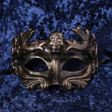 Halloween Skull Eye Mask - Gold