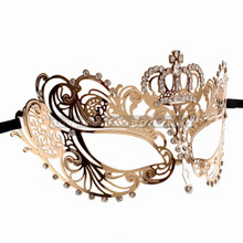 Charming Princess Crown Venetian Masquerade Mask With Diamonds - Gold - 2