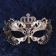 Charming Princess Crown Venetian Masquerade Mask With Diamonds - Gold