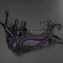 Elegant Princess Venetian Masquerade Mask With Purple Diamonds - Black
