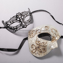 Silver Half Face Phantom of Opera and Black Venetian Laser Cut Eyes Masks for Couple