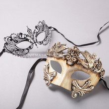 White Silver Roman Warrior Mask and Black Charming Princess Laser Cut Masks for Couple