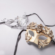 White Silver Roman Warrior Mask and Black Princess Laser Cut Masks for Couple