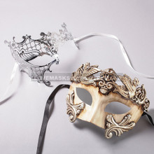 White Silver Roman Warrior Mask and Silver Phantom of Opera Laser Cut Masks for Couple