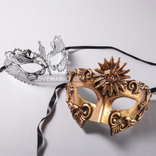 Gold Roman Sun Warrior Mask and Silver Charming Princess Laser Cut Masks for Couple