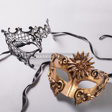 Gold Roman Sun Warrior Mask and Black Phantom of Opera Laser Cut Masks for Couple