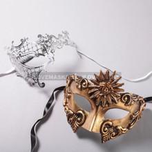 Gold Roman Sun Warrior Mask and Silver Phantom of Opera Laser Cut Masks for Couple