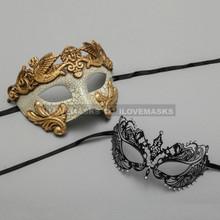 Gold Warrior Roman Greek Masquerade Mask & Black Princess Diamond Venetian Mask - Couple