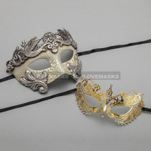 Silver Warrior Roman Greek Masquerade Mask & Gold Princess Diamond Venetian Mask - Couple
