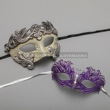 Silver Warrior Roman Greek Masquerade Mask & Purple Princess Diamond Venetian Mask - Couple