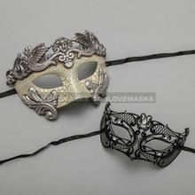 Silver Warrior Roman Greek Masquerade Mask & Black Fox Princess Diamond Mask Combo