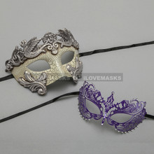 Silver Warrior Roman Greek Masquerade Mask & Princess Purple Diamond Venetian Mask - Couple