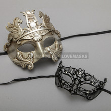 Silver Roman Greek Warrior Masquerade Mask & Black Fox Princess Diamond Mask Combo