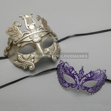 Silver Roman Greek Warrior Masquerade Mask & Purple Princess Charming Venetian Eyes Mask for Couple