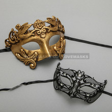 Gold Roman Greek Warrior Masquerade Mask & Black Fox Princess Diamond Mask Combo