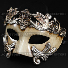 Roman Greek Emperor Warrior Venetian Mask - White Silver