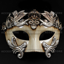 Roman Greek Emperor Warrior Venetian Mask - White Silver - 3