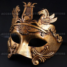 Roman Greek Emperor with Pegasus Horses Venetian Mask - Metallic Gold