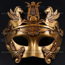 Roman Greek Emperor with Pegasus Horses Venetian Mask - Metallic Gold - 3