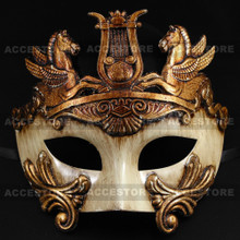Roman Greek Emperor with Pegasus Horses Venetian Mask - Gold White - 3