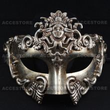 Warrior Roman Greek Metallic Venetian Masquerade Men's Half Face Mask-Silver - 3
