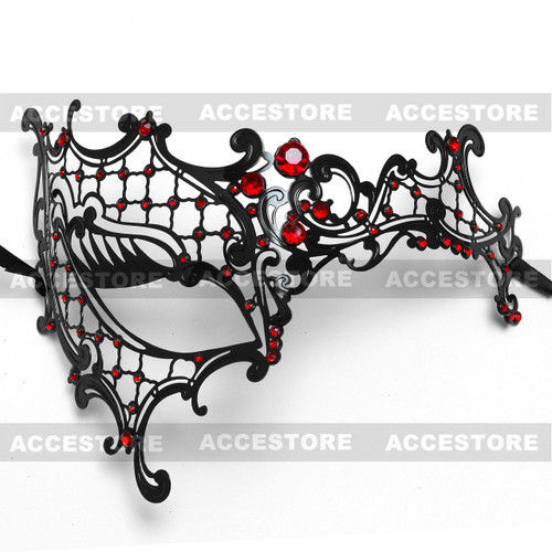 Phantom of Opera Venetian Laser Cut Mask With Rhinestones - Black Red - 2