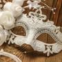 Elegant Venetian Laser Cut Metal Lace Flower Silver Rhinestone Wedding Mask - White