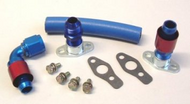 Lancer EVO1-3 Replacement turbo Oil drain kit with silicon coated glass sleeving