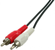 2 RCA Male to 2 RCA Male Stereo Audio Cable - 6ft- Red/White (CA-2910)