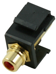 Black RCA Modular Keystone Jack with Red Insert (CA-2209-R-BK)