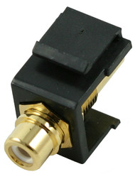 Black RCA Modular Keystone Jack with White Insert (CA-2209-W-BK)